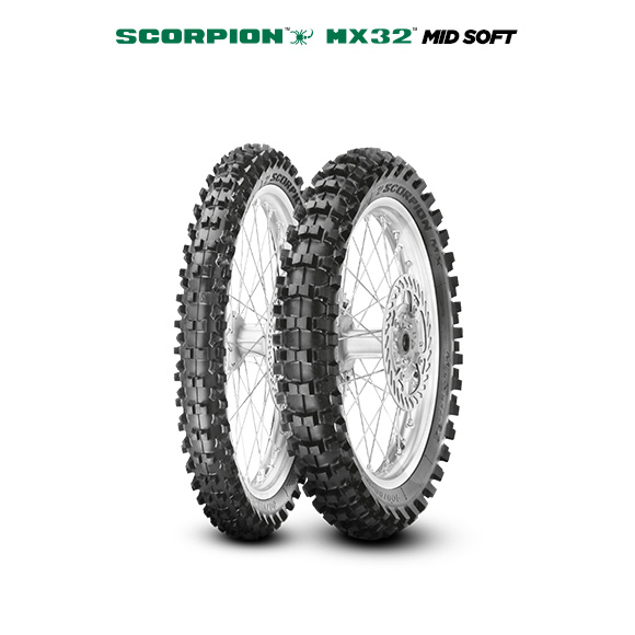 SCORPION MX32 MID SOFT tire for KAWASAKI KLX 125 LX125C (> 2010) motorbike
