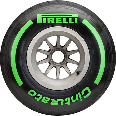 Intermediate Green F1 car tyre