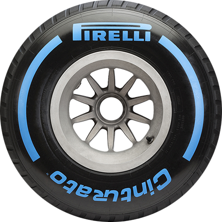 Wet Blue F1 car tyre